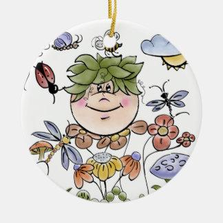 Garden Fairy Folk Art Baby Boy's Round Ceramic Decoration