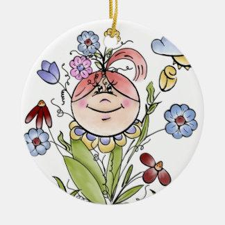 Garden Fairy Folk Art Round Ceramic Decoration