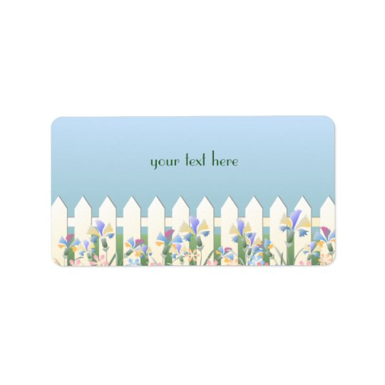 Garden Fence and Flowers Address Label