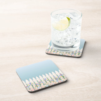 Garden Fence and Flowers Cork Coaster