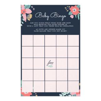 Garden Floral Baby Bingo Game Stationery