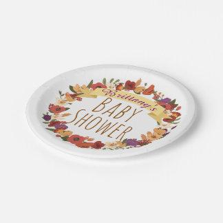 Garden Floral Wreath Baby Shower Paper Plate