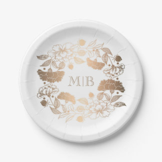 Garden Floral Wreath Elegant Gold and White Paper Plate