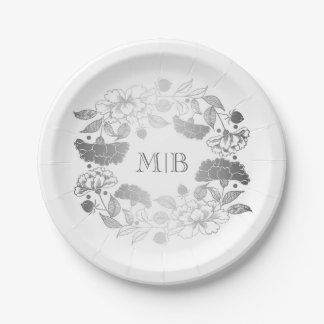 Garden Floral Wreath Elegant Silver and White Paper Plate