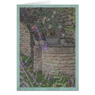Garden flowers and stone well card
