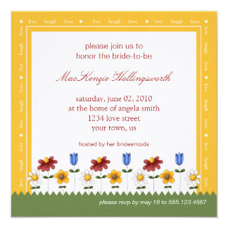 Garden Flowers Bridal Shower Invitation