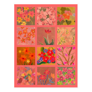 Garden Flowers Miniature Art in coral pink Postcard