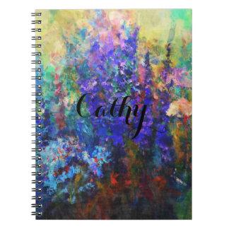 Garden Flowers Old-Fashioned Art Spiral Notebook