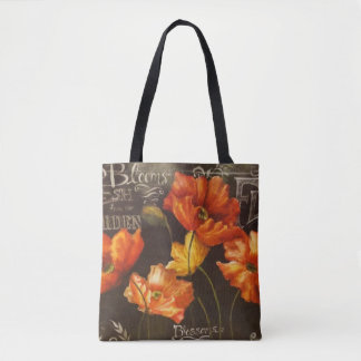 Garden Flowers Poppies yellow Red Tote Bag
