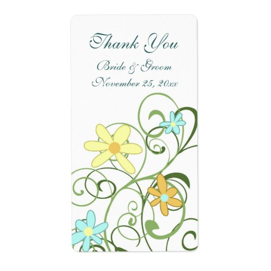 Garden Flowers Wedding Labels