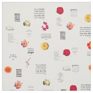 Garden Flowers with Quotes Print Pattern Fabric