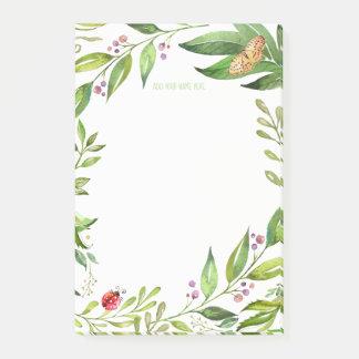 Garden Foliage | Ladybug & Butterfly ANY Monogram Post-it Notes
