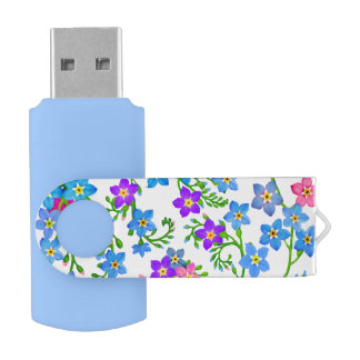 Garden Forget Me Nots 16Gb Flash Drive Swivel USB 3.0 Flash Drive