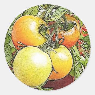 Garden Fresh Heirloom Tomatoes Round Sticker