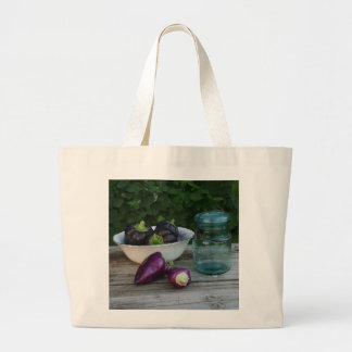 Garden Fresh Peppers With Antique Jar Large Tote Bag