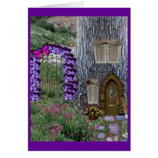 Garden Gate Fairy Cottage Card