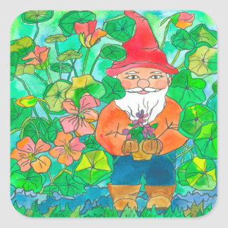 Garden Gnome Nasturtium Flowers Square Sticker