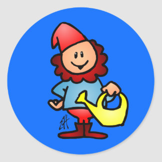 Garden gnome round sticker