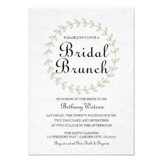 Garden Greenery Wreath Bridal Brunch invitation