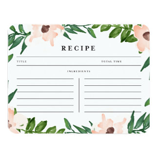 Garden in White | Recipe Card 11 Cm X 14 Cm Invitation Card
