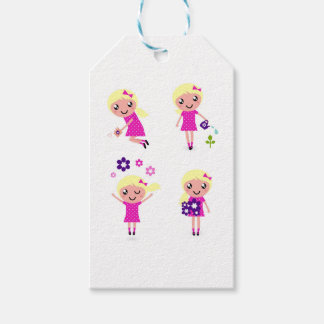 Garden kids pink gift tags