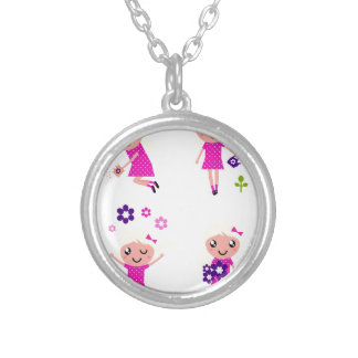 Garden kids pink silver plated necklace