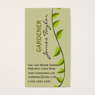 Garden Leaf Gardening Green Professional Business Card