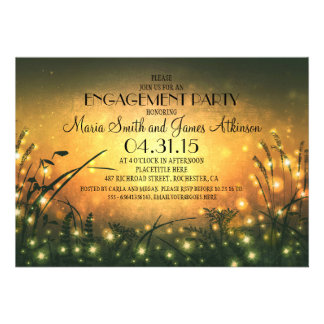garden lights rustic engagement party invitation