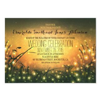 garden lights rustic wedding invitation