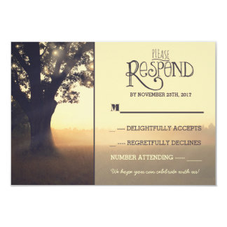 Garden lights tree rustic wedding RSVP 9 Cm X 13 Cm Invitation Card