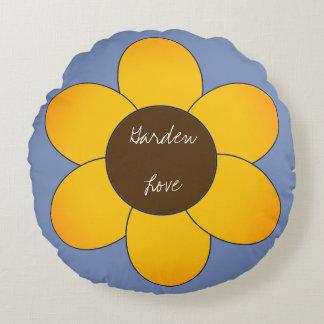 Garden-Love_Sunflower-Blue_Round Round Cushion
