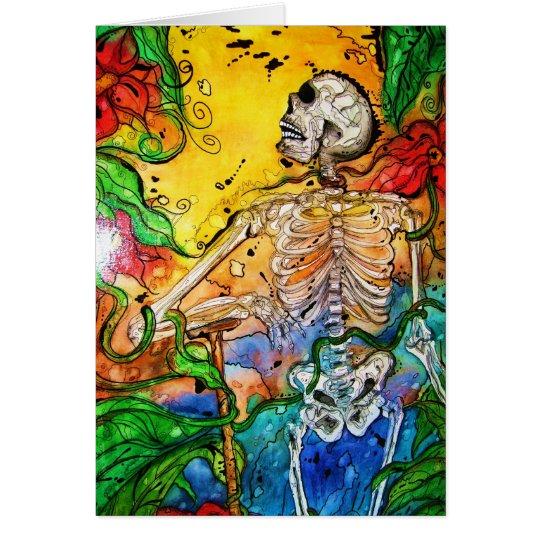 """""""Garden of Eden"""" Gentleman Skeleton in the Garden Card"""