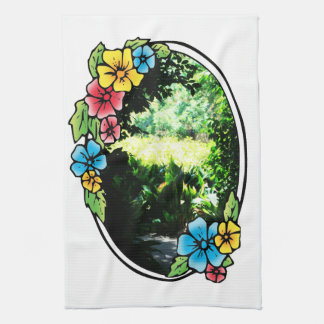 Garden of Eden with Colorful Frame Tea Towel