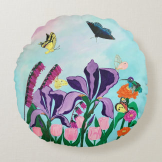 Garden of Heavenly Delights Round Cushion