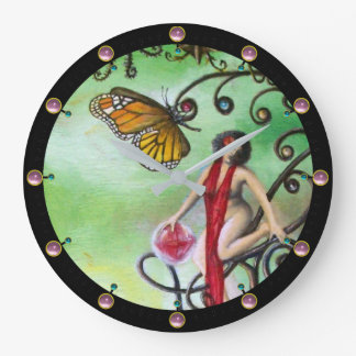 GARDEN OF MELISSA Magic Butterfly and Lady in Red Large Clock