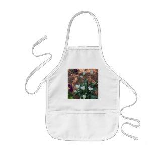 Garden of snow white tulip flowers kids apron