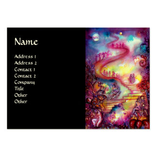 GARDEN OF THE LOST SHADOWS / MAGIC STAIRS pink red Business Card Template