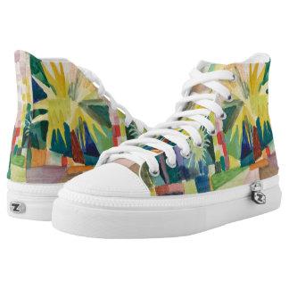 """Garden On Lake Thun"" Art high top shoes Printed Shoes"