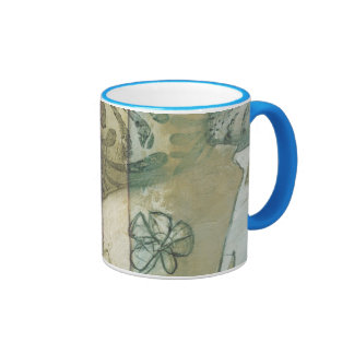 Garden Panel with Leaves, Flowers, and Grass Ringer Mug