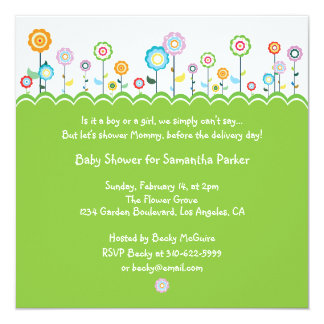 Garden Party Baby Shower Invitation Card