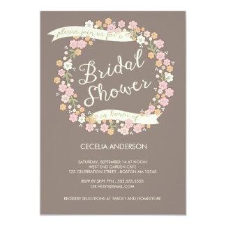 Garden Party Floral Wreath Bridal Shower Blush 13 Cm X 18 Cm Invitation Card