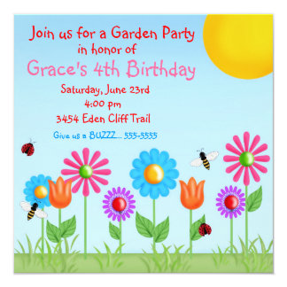 Garden Party Ladybug  Birthday Invitations