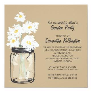 "Garden Party Mason Jar & White Daisies 5.25"" Square Invitation Card"