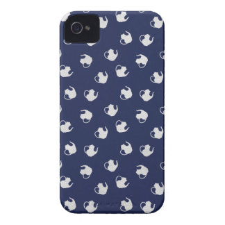 Garden Party Teapot Print in Navy iPhone 4 Case-Mate Cases