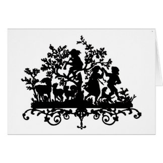 Garden Party With Children Dancing Card