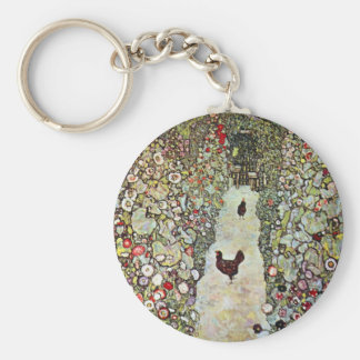 Garden Path w Chickens, Gustav Klimt, Art Nouveau Basic Round Button Key Ring