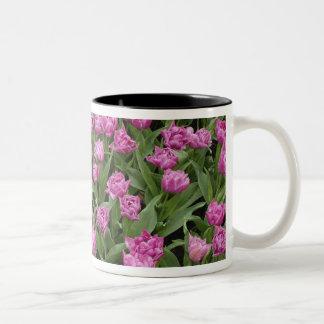 Garden pattern of tulips, Keukenhof Gardens, Two-Tone Coffee Mug