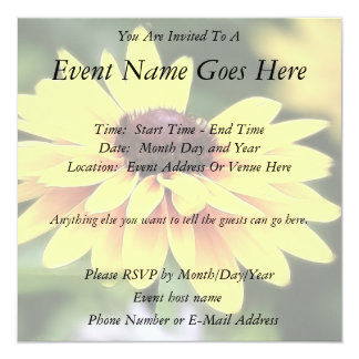 "Garden Perfection - Black Eyed Susan 5.25"" Square Invitation Card"