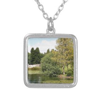 Garden & pond, highlands, Scotland Silver Plated Necklace