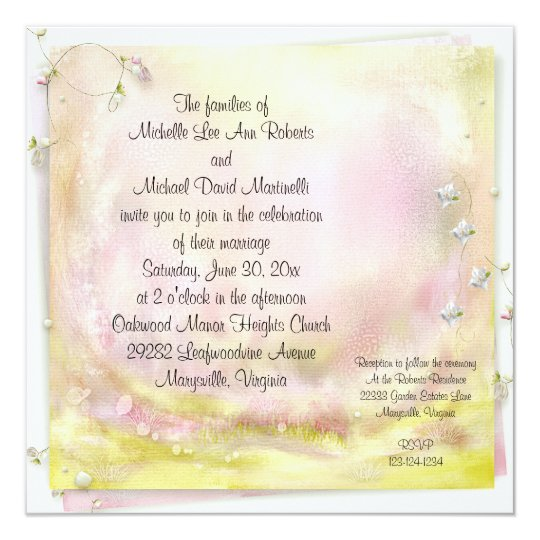 Garden Romance Square Wedding Invitation